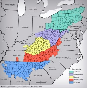 Map of Appalachian Subregions in West Virginia