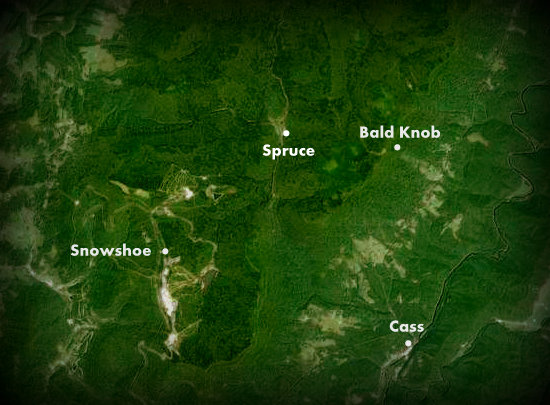Map showing spruce on shavers fork west virginia explorer for Fly fishing west virginia