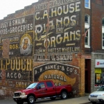 Wall advertising at Grafton, WV, Taylor County, Monongahela Valley Region