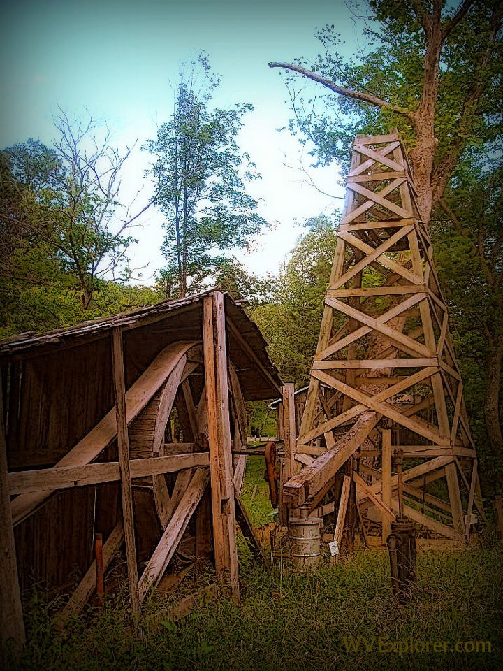 Replica derrick at Burning Springs