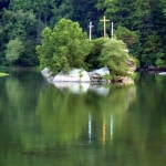 Crosses on island at Gauley Bridge, WV, Kanawha River, Fayette County, New River Gorge Region