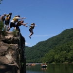 Swimmers at Jump Rock, Recreation on New River, Whitewater Rafting