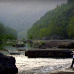 Angler on New River near Chimney Corner, WV, Fayette County, New River Gorge Region