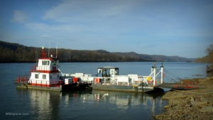 Ferry on the Ohio River at Sistersville, WV, Tyler County, Mid-Ohio Valley Region