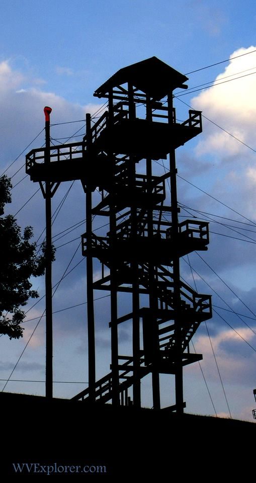 Zip-line tower at Grand Vue Park