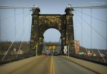 Wheeling Suspension Bridge, Wheeling, WV, Ohio County, Mid-Ohio Valley Region