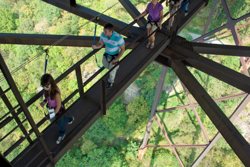 Walking beneath New River Gorge Bridge