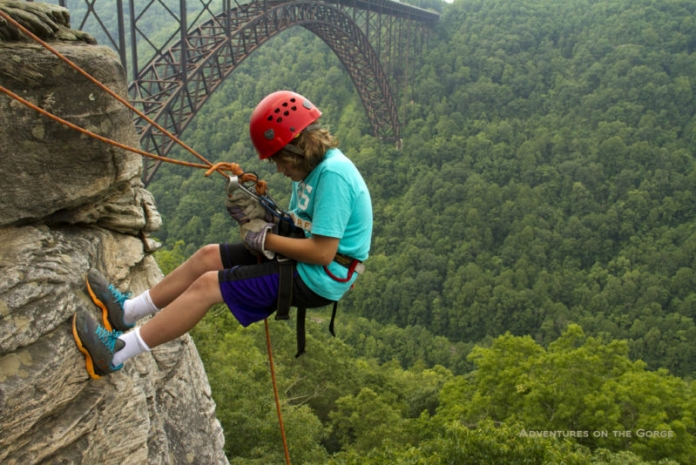 Young climber at New River Gorge, New River Gorge National River, Adventures on the Gorge