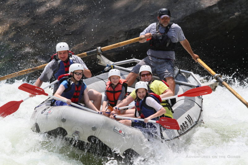 Family rafting through the New River Gorge