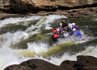 Rafters pull into a Gauley River rapid, Gauley River National Recreation Area, Adventures on the Gorge