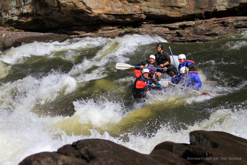 Rafters barrel into a Gauley River rapid