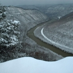 Snow on New River at Grandview, New River Gorge National River, New River Gorge Region