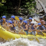 Eight rafters in raft on New River, Adventures on the Gorge