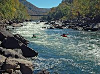 Kayakers in the New RIver Gorge. Rivers, New River Gorge Region