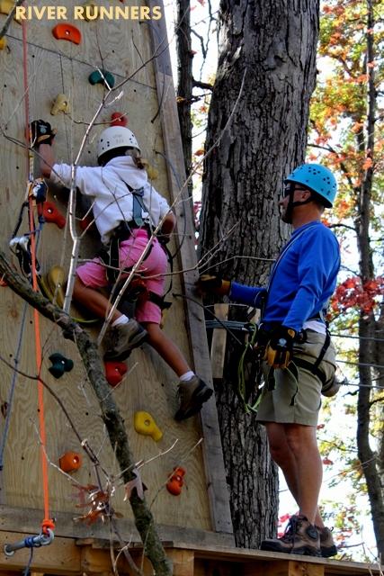 Climbing wall at River Riders Adventure Park