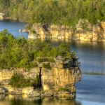 Cliffs along Summerville Lake, Summersville Lake Climbing Area, Nicholas County, New River Gorge Region