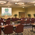 Conference-ready ballroom at Glade Springs Resort
