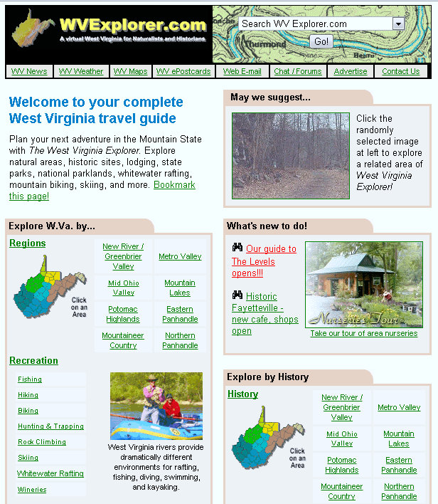2002 version of West Virginia Explorer, Advertising in West Virginia