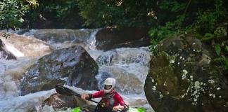 Kayaker on Deckers Creek, Morgantown, West Virginia, Monongalia County, Monongahela Valley Region