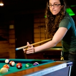 Playing pool at the Red Dog River Saloon, River Expeditions, Fayetteville, West Virginia