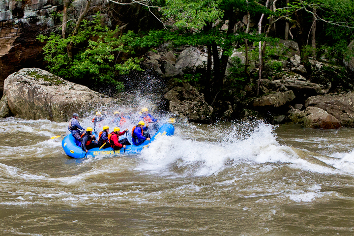 Rafters charge into wave on Gauley River