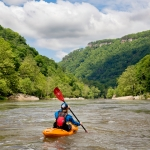 Paddler enters pool on lower New River