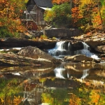 Babcock Mill in Autumn, Babcock State Park, Fayette County, New River Gorge Region