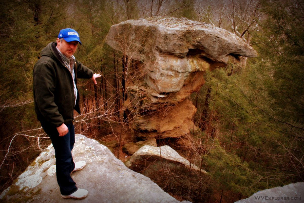 Erosion has shaped the anvil-topped Devil's Tea Table, Little Creek Park, South Charleston, West Virginia, Kanawha County, Metro Valley Region