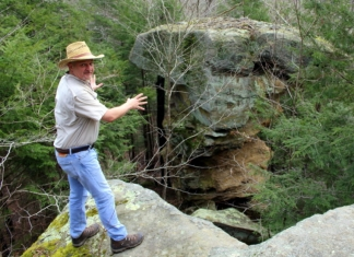 David Sibray visits the Devil's Teatable at Little Creek Park in South Charleston, West Virginia.