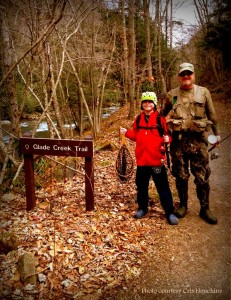 Family fishing on Glade Creek Trail, Raleigh County, New River Gorge National River