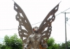 Editor Dave Sibray at Mothman Statue, Parkersburg, West Virginia