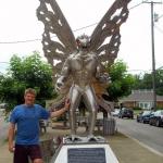 Editor Dave Sibray at Mothman Statue, Parkersburg, West Virginia