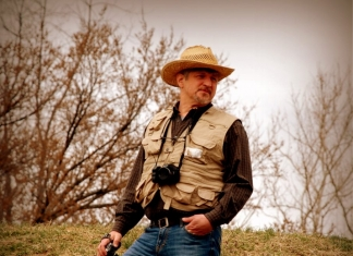 Editor surveys Shawnee Park Mound near Dunbar, West Virginia