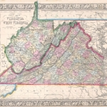 Historic map showing West Virginia 1864
