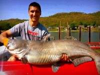 Austin Hoffman and record blue cat taken on Ohio River, 2014
