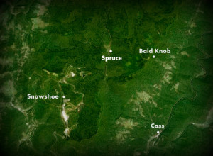 Map showing Spruce on Shavers Fork