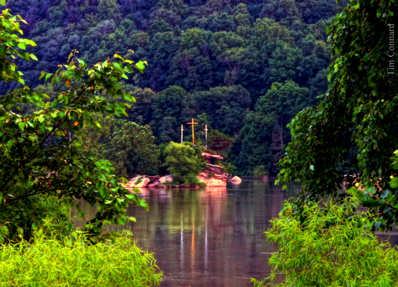 Mount Zion Crosses above New River at Bellepoint, West Virginia