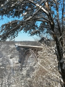 New River Gorge Bridge in winter