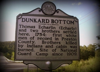 A historic marker along the Cheat River recalls the settlement of Dunkards in the mid-1700s.