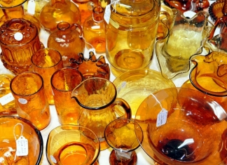 Glassware in a New River Gorge antiques shop