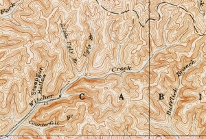 Map showing head of Witcher Creek, Kanawha County, West Virginia (WV)