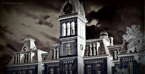 Woodburn Hall in inverted color