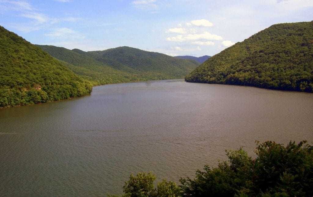 Bluestone Lake on New River extends into the mountains near the Virginia border.