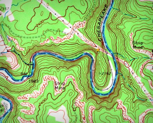 Meanders in Piney Creek Gorge near Beckley, West Virginia, in Raleigh County