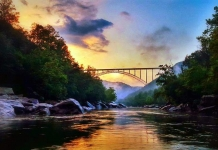 The sun sets beyond the New River Gorge Bridge in southern West Virginia. (Photo courtesy Wendy Parks Scott)