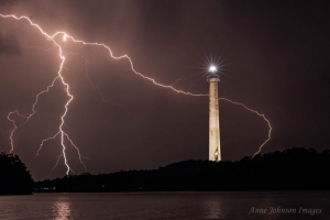 Lightning seems to wrap around lighthouse at Summersville Lake. Photo courtesy Anne Johnson.