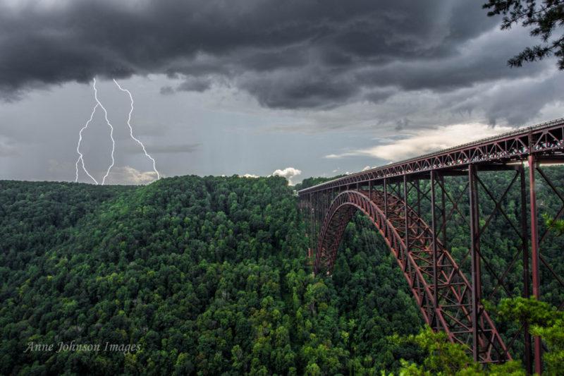 Anne Johnson, Lightning near New River Gorge Bridge