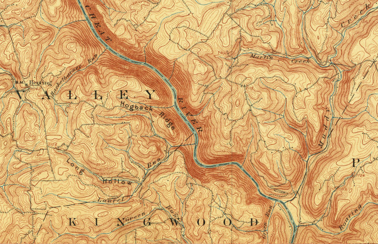 Topographic Map of Upper Cheat River Canyon
