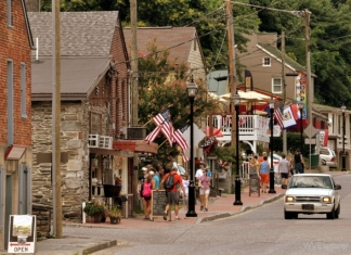 Tourists walk Potomac Street in Harpers Ferry. West Virginia