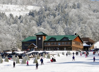 Skiers cavort at Canaan Valley Resort in West Virginia